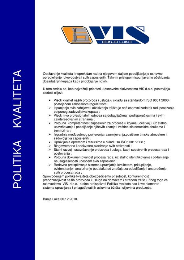 Microsoft Word - VIS-Politika kvaliteta .doc